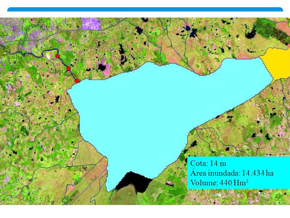 Cota: 14 m Área inundada: 14.434 ha Volume: 440 Hm 3