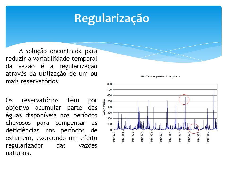 Regularização A solução encontrada para reduzir a variabilidade temporal da vazão é a regularização através da utilização de um ou mais reservatórios