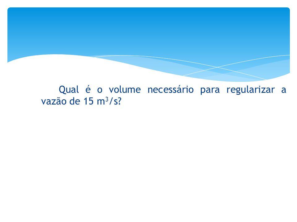 Qual é o volume necessário para regularizar a vazão de 15 m 3 /s?
