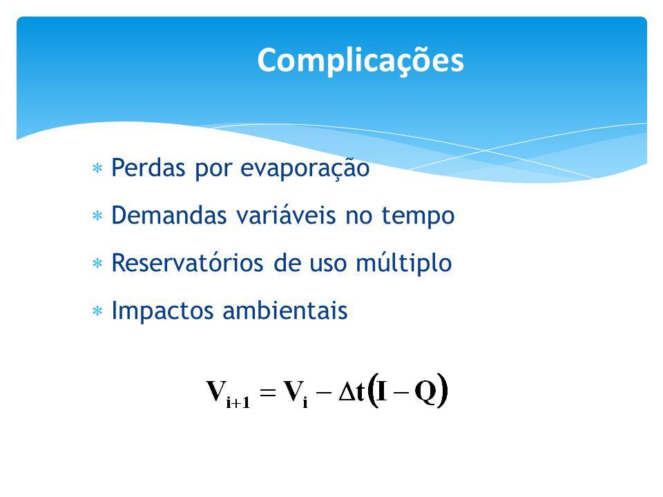  Perdas por evaporação  Demandas variáveis no tempo  Reservatórios de uso múltiplo  Impactos ambientais Complicações