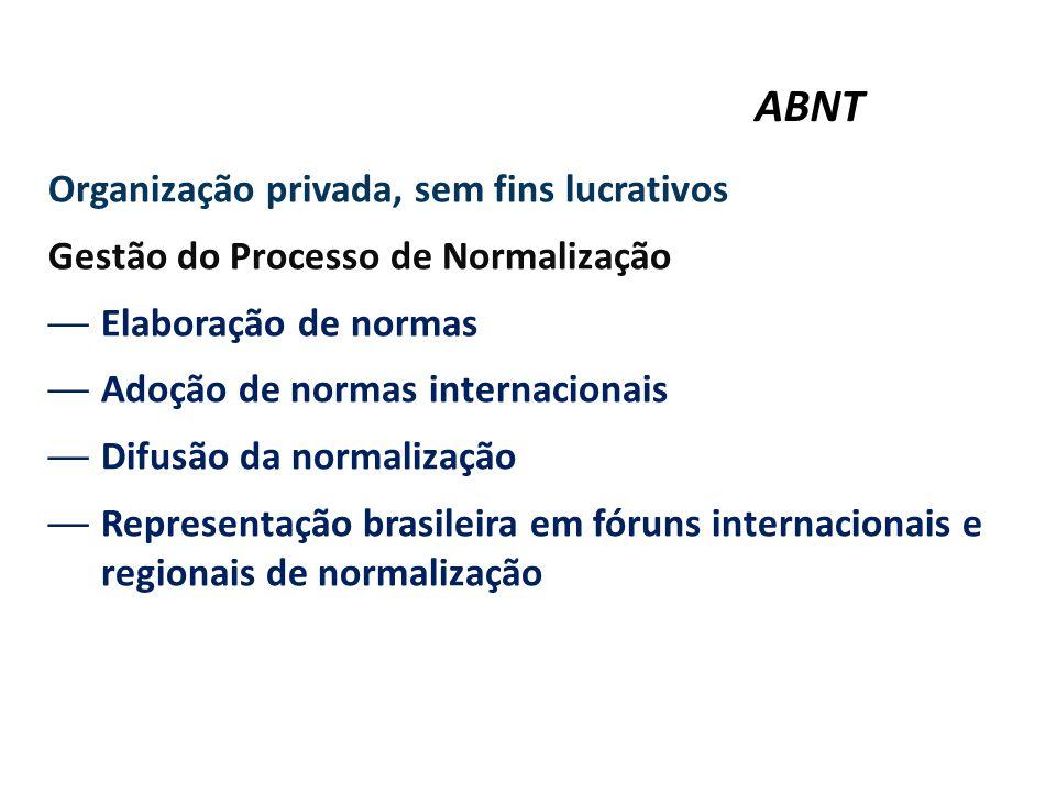 ABNT Organização privada, sem fins lucrativos Gestão do Processo de Normalização —Elaboração de normas —Adoção de normas internacionais —Difusão da no