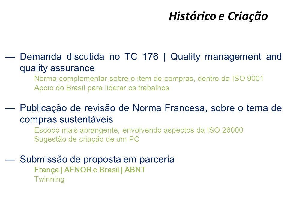 Histórico e Criação —Demanda discutida no TC 176   Quality management and quality assurance Norma complementar sobre o item de compras, dentro da ISO