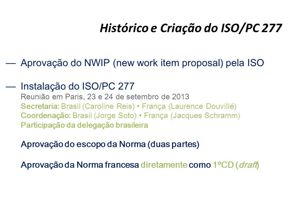 Histórico e Criação do ISO/PC 277 —Aprovação do NWIP (new work item proposal) pela ISO —Instalação do ISO/PC 277 Reunião em Paris, 23 e 24 de setembro