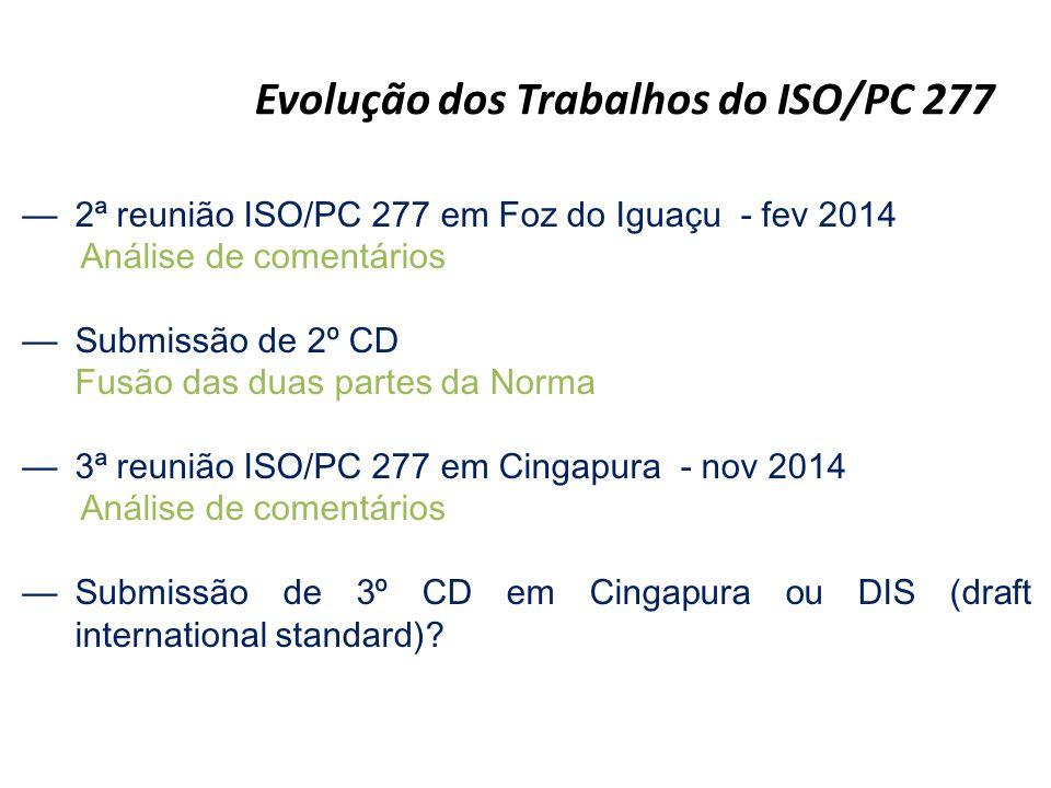 —2ª reunião ISO/PC 277 em Foz do Iguaçu - fev 2014 Análise de comentários —Submissão de 2º CD Fusão das duas partes da Norma —3ª reunião ISO/PC 277 em