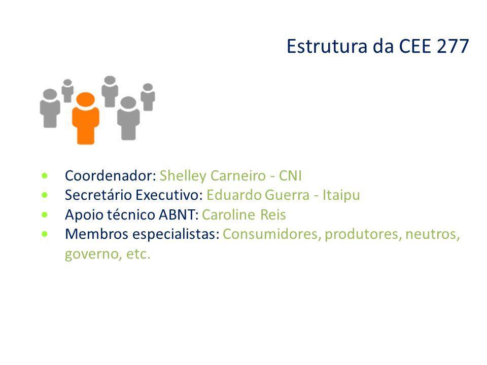 Estrutura da CEE 277 ● Coordenador: Shelley Carneiro - CNI ● Secretário Executivo: Eduardo Guerra - Itaipu ● Apoio técnico ABNT: Caroline Reis ● Membr