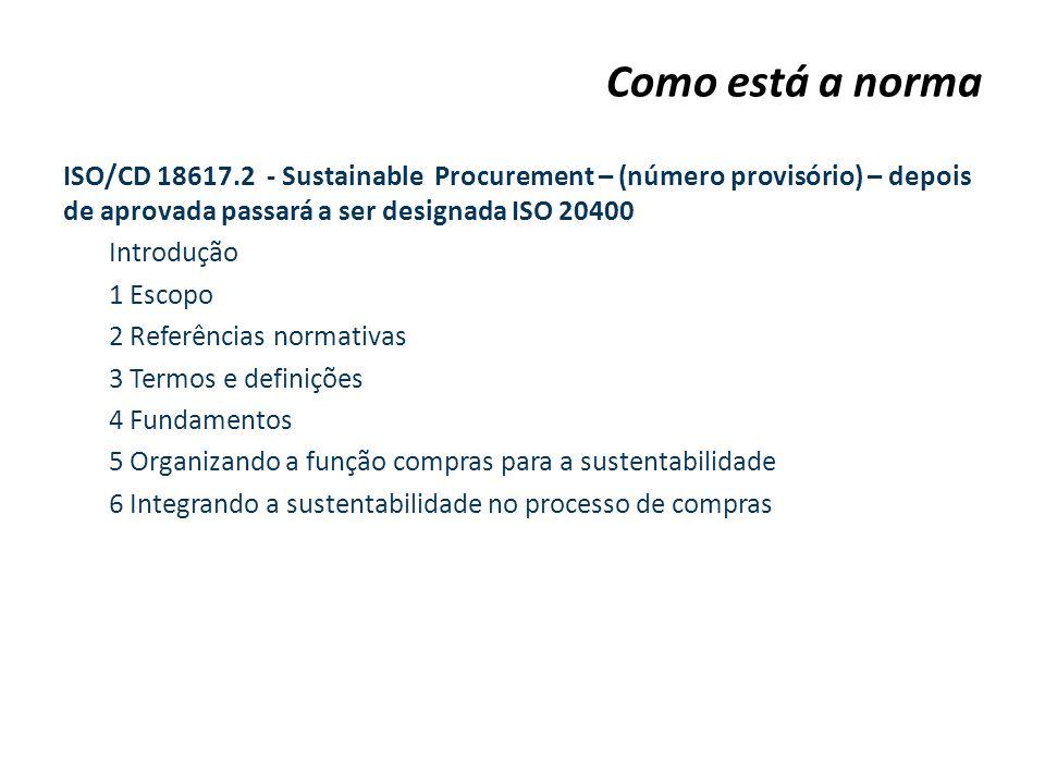 ISO/CD 18617.2 - Sustainable Procurement – (número provisório) – depois de aprovada passará a ser designada ISO 20400 Introdução 1 Escopo 2 Referência
