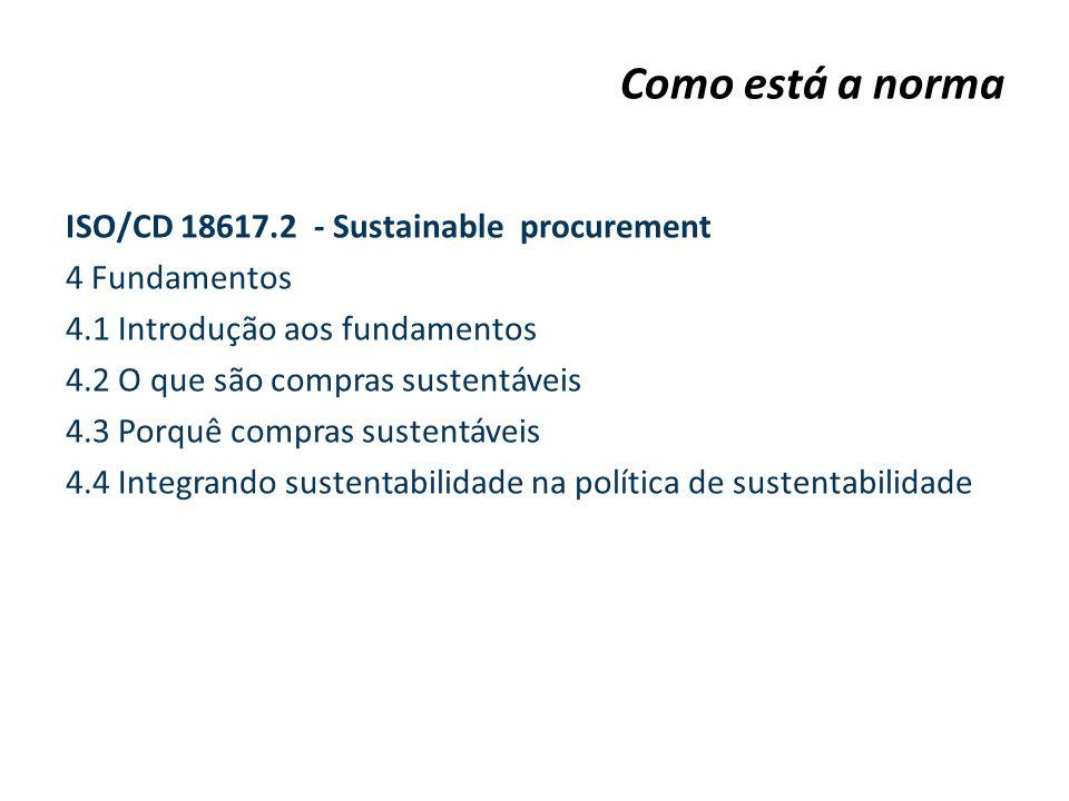 ISO/CD 18617.2 - Sustainable procurement 4 Fundamentos 4.1 Introdução aos fundamentos 4.2 O que são compras sustentáveis 4.3 Porquê compras sustentáve