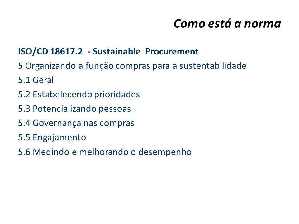 ISO/CD 18617.2 - Sustainable Procurement 5 Organizando a função compras para a sustentabilidade 5.1 Geral 5.2 Estabelecendo prioridades 5.3 Potenciali