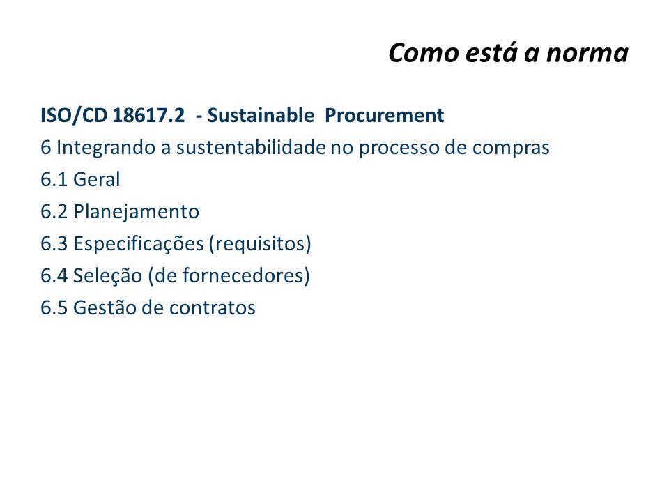 ISO/CD 18617.2 - Sustainable Procurement 6 Integrando a sustentabilidade no processo de compras 6.1 Geral 6.2 Planejamento 6.3 Especificações (requisi