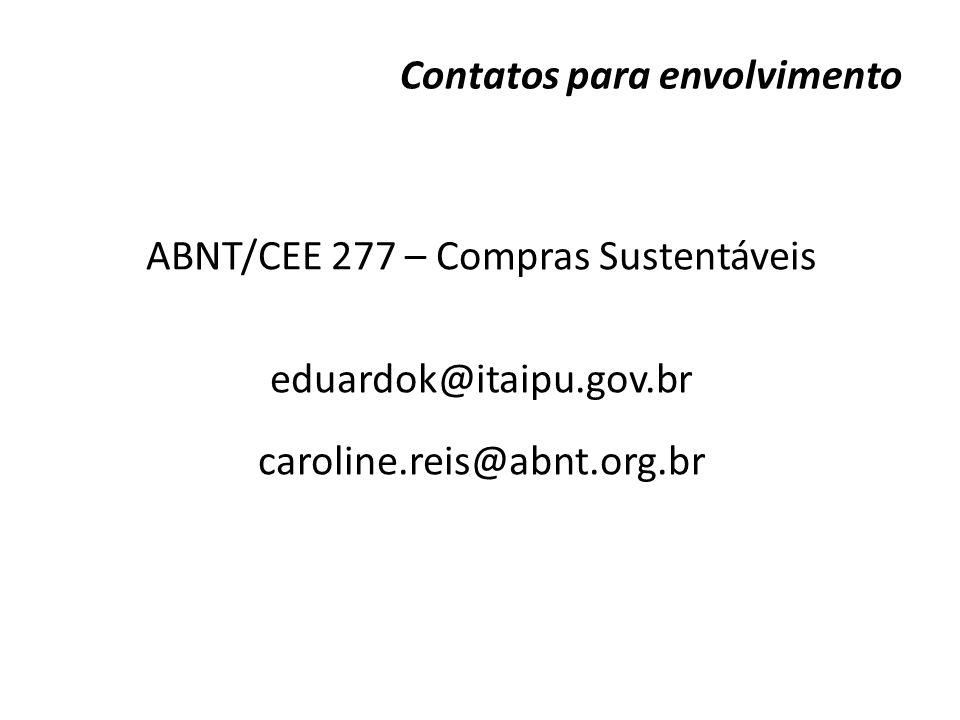 Contatos para envolvimento ABNT/CEE 277 – Compras Sustentáveis eduardok@itaipu.gov.br caroline.reis@abnt.org.br