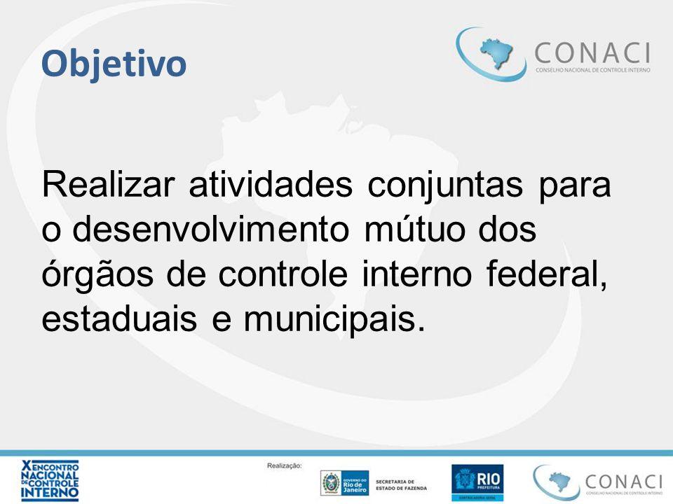 Objetivo Realizar atividades conjuntas para o desenvolvimento mútuo dos órgãos de controle interno federal, estaduais e municipais.