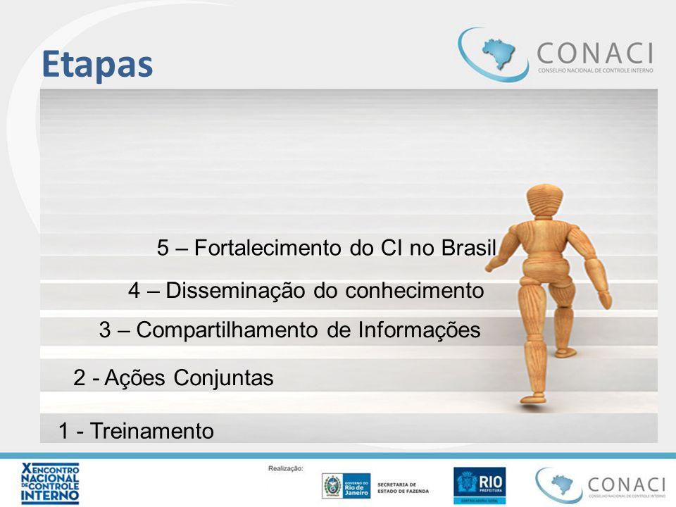 Etapas 1 - Treinamento 2 - Ações Conjuntas 3 – Compartilhamento de Informações 4 – Disseminação do conhecimento 5 – Fortalecimento do CI no Brasil