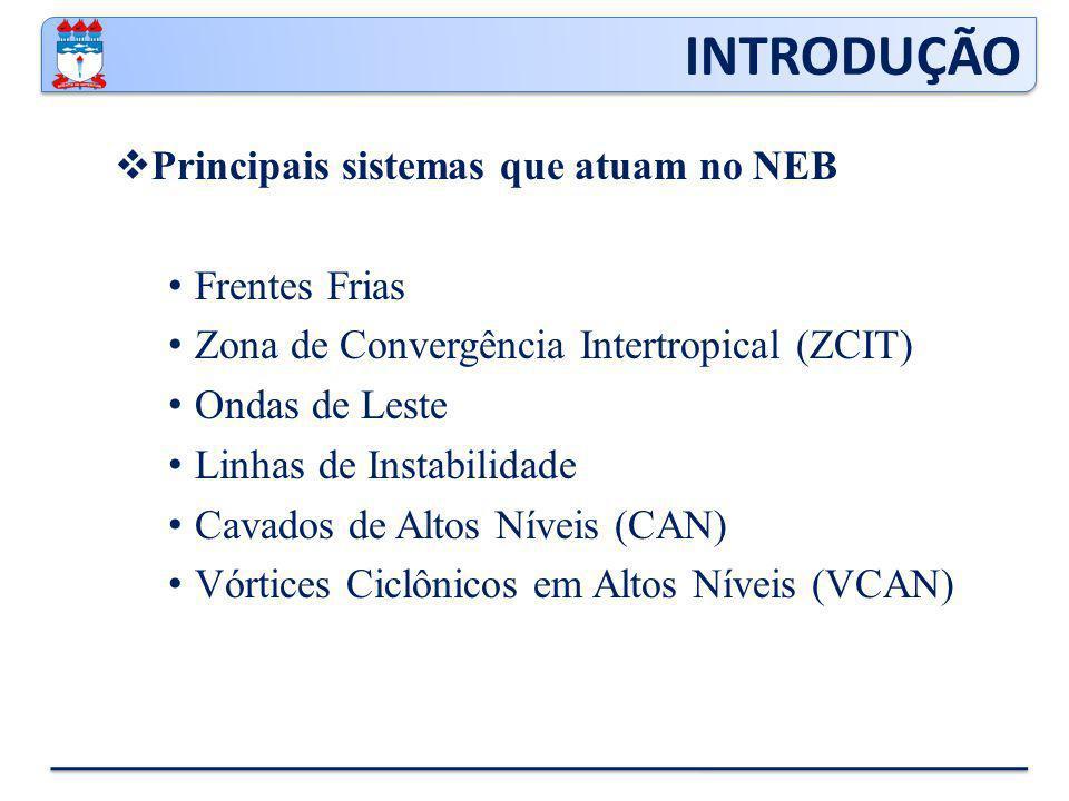  Principais sistemas que atuam no NEB Frentes Frias Zona de Convergência Intertropical (ZCIT) Ondas de Leste Linhas de Instabilidade Cavados de Altos Níveis (CAN) Vórtices Ciclônicos em Altos Níveis (VCAN) INTRODUÇÃO