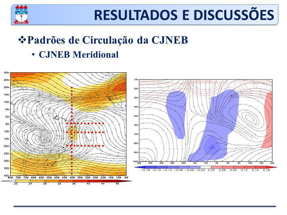 RESULTADOS E DISCUSSÕES  Padrões de Circulação da CJNEB CJNEB Meridional