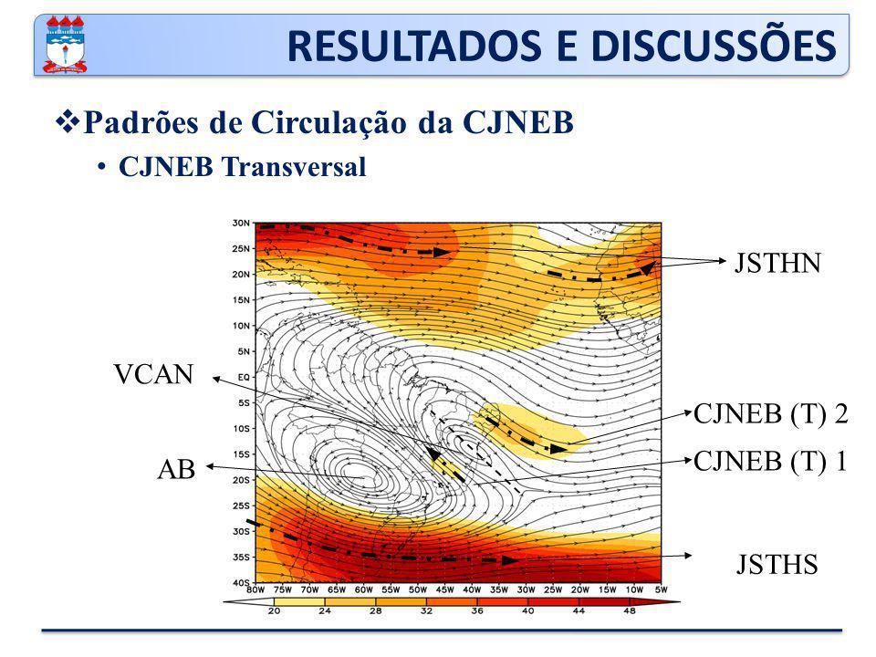 RESULTADOS E DISCUSSÕES  Padrões de Circulação da CJNEB CJNEB Transversal CJNEB (T) 2 CJNEB (T) 1 JSTHS JSTHN VCAN AB