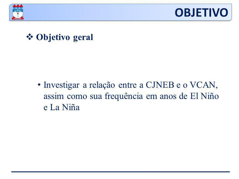 Objetivo geral Investigar a relação entre a CJNEB e o VCAN, assim como sua frequência em anos de El Niño e La Niña OBJETIVO