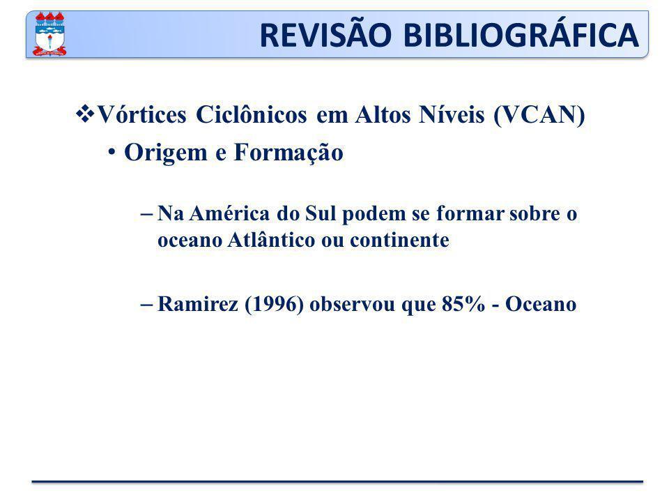 REVISÃO BIBLIOGRÁFICA  Vórtices Ciclônicos em Altos Níveis (VCAN) Origem e Formação – Na América do Sul podem se formar sobre o oceano Atlântico ou continente – Ramirez (1996) observou que 85% - Oceano