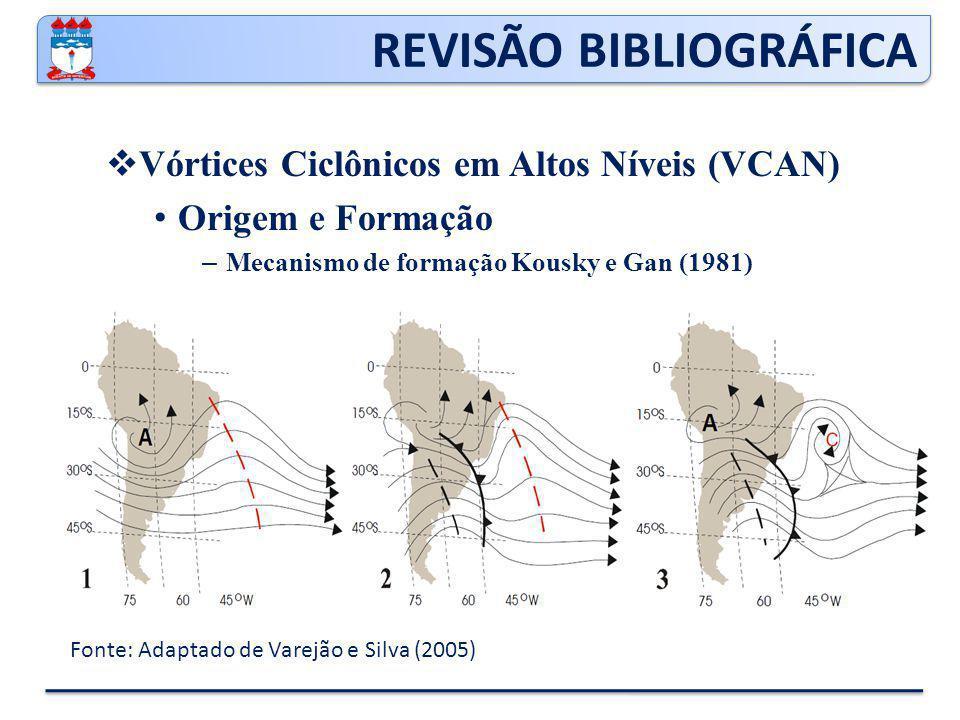 REVISÃO BIBLIOGRÁFICA  Vórtices Ciclônicos em Altos Níveis (VCAN) Origem e Formação – Paixão e Gandu (2000) encontraram mais 3 padrões de formação: Formação Clássica Formação Alta Formação Africana I e II Formação mista – 46% Formação Classica e 54% os outros tipos de mecanismos