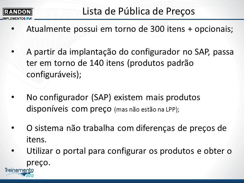 Lista de Pública de Preços Atualmente possui em torno de 300 itens + opcionais; A partir da implantação do configurador no SAP, passa ter em torno de 140 itens (produtos padrão configuráveis); No configurador (SAP) existem mais produtos disponíveis com preço (mas não estão na LPP); O sistema não trabalha com diferenças de preços de itens.