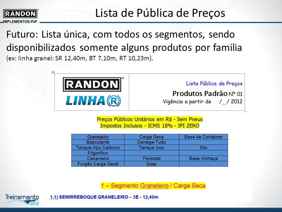 Lista de Pública de Preços Futuro: Lista única, com todos os segmentos, sendo disponibilizados somente alguns produtos por familia (ex: linha granel: SR 12,40m, BT 7,10m, RT 10,23m).