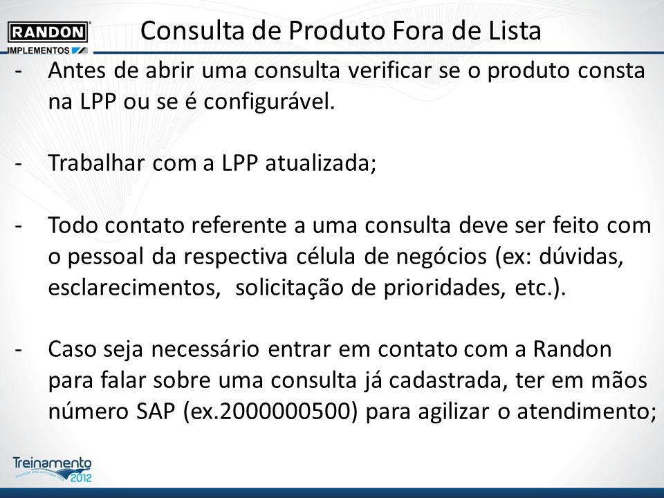 Consulta de Produto Fora de Lista -Antes de abrir uma consulta verificar se o produto consta na LPP ou se é configurável.