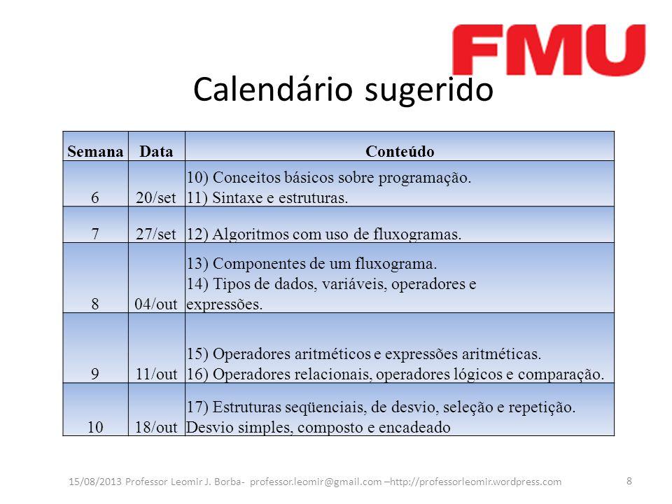 Calendário sugerido 15/08/2013 Professor Leomir J.