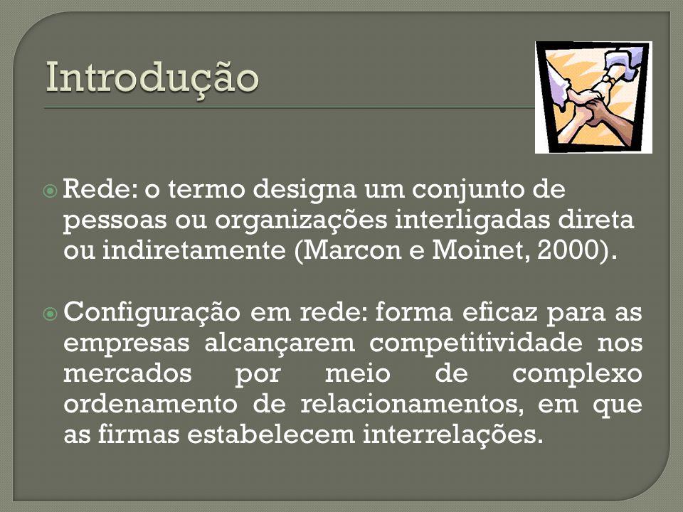  Rede: o termo designa um conjunto de pessoas ou organizações interligadas direta ou indiretamente (Marcon e Moinet, 2000).