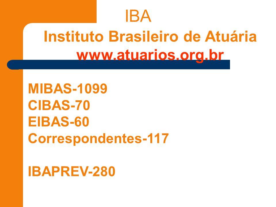 IBA Instituto Brasileiro de Atuária www.atuarios.org.br MIBAS-1099 CIBAS-70 EIBAS-60 Correspondentes-117 IBAPREV-280