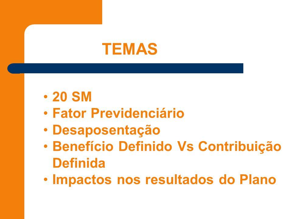 TEMAS 20 SM Fator Previdenciário Desaposentação Benefício Definido Vs Contribuição Definida Impactos nos resultados do Plano