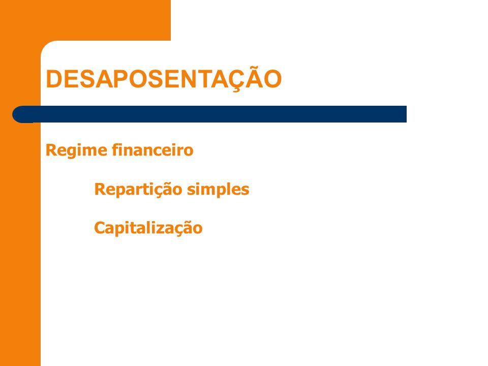 DESAPOSENTAÇÃO Regime financeiro Repartição simples Capitalização