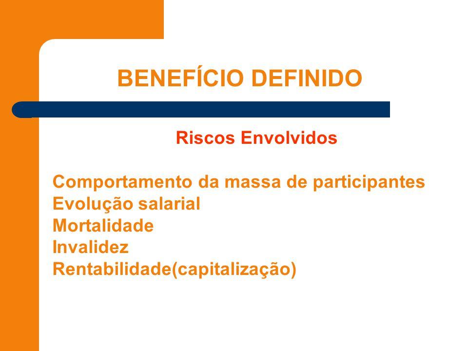 Riscos Envolvidos * Comportamento da massa de participantes * Evolução salarial * Mortalidade * Invalidez * Rentabilidade(capitalização)