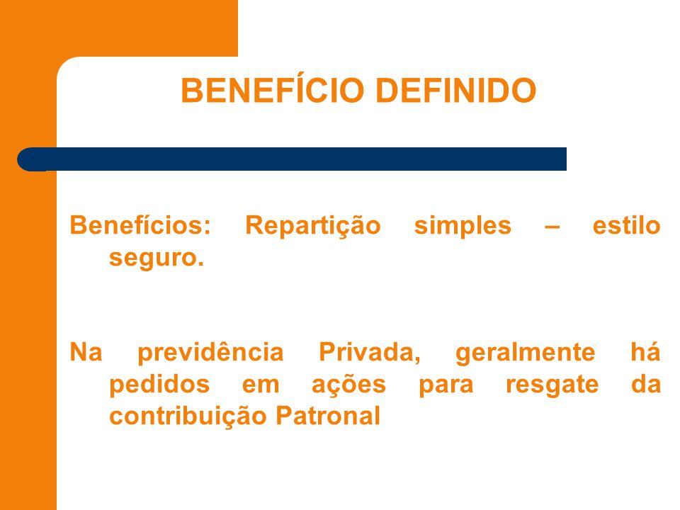 BENEFÍCIO DEFINIDO Benefícios: Repartição simples – estilo seguro.