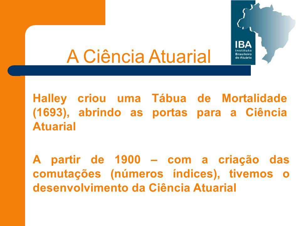 A Ciência Atuarial Halley criou uma Tábua de Mortalidade (1693), abrindo as portas para a Ciência Atuarial A partir de 1900 – com a criação das comutações (números índices), tivemos o desenvolvimento da Ciência Atuarial