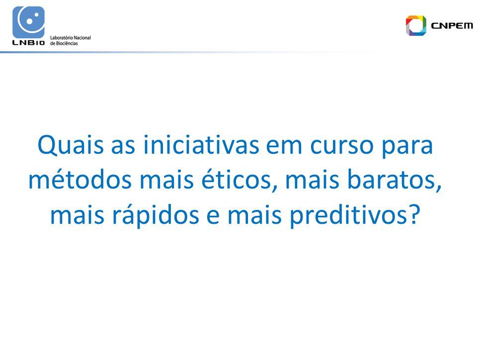 Quais as iniciativas em curso para métodos mais éticos, mais baratos, mais rápidos e mais preditivos?