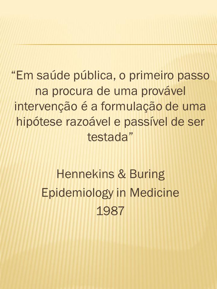 Em saúde pública, o primeiro passo na procura de uma provável intervenção é a formulação de uma hipótese razoável e passível de ser testada Hennekins & Buring Epidemiology in Medicine 1987
