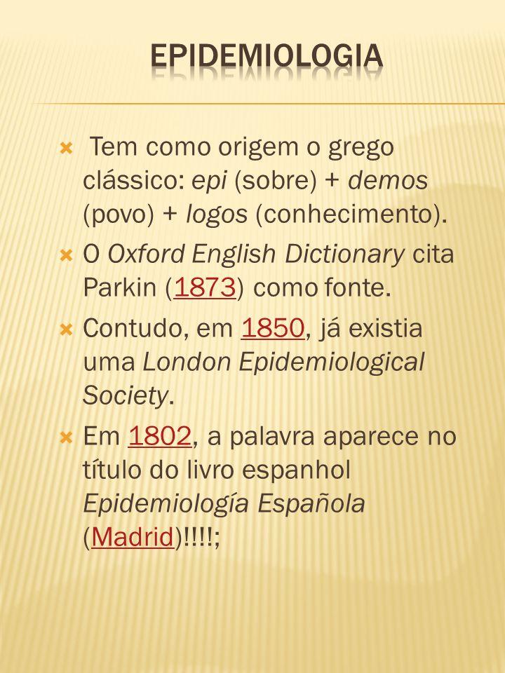  Tem como origem o grego clássico: epi (sobre) + demos (povo) + logos (conhecimento).  O Oxford English Dictionary cita Parkin (1873) como fonte.187
