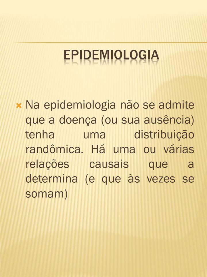  Na epidemiologia não se admite que a doença (ou sua ausência) tenha uma distribuição randômica. Há uma ou várias relações causais que a determina (e