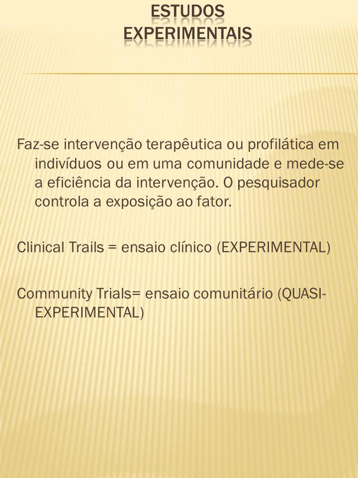 Faz-se intervenção terapêutica ou profilática em indivíduos ou em uma comunidade e mede-se a eficiência da intervenção. O pesquisador controla a expos