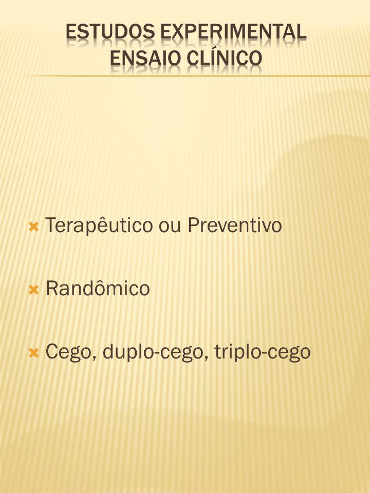  Terapêutico ou Preventivo  Randômico  Cego, duplo-cego, triplo-cego