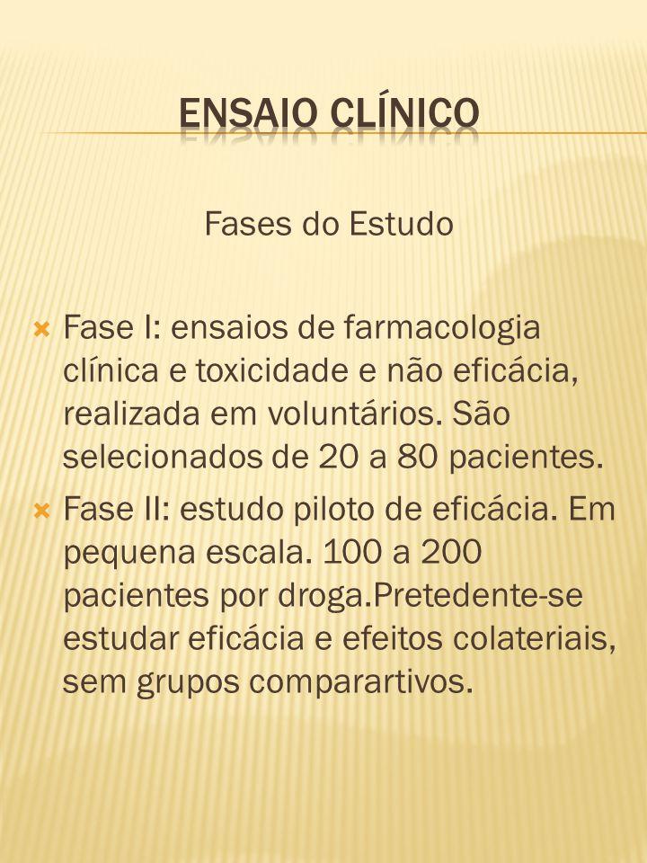 Fases do Estudo  Fase I: ensaios de farmacologia clínica e toxicidade e não eficácia, realizada em voluntários. São selecionados de 20 a 80 pacientes