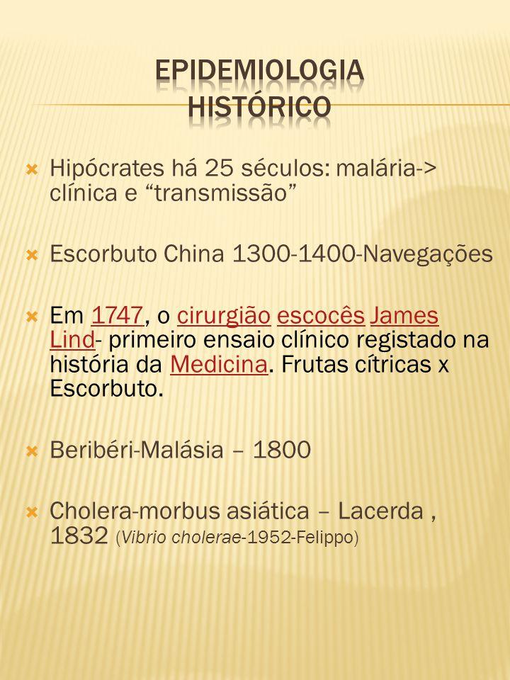 """ Hipócrates há 25 séculos: malária-> clínica e """"transmissão""""  Escorbuto China 1300-1400-Navegações  Em 1747, o cirurgião escocês James Lind- primei"""