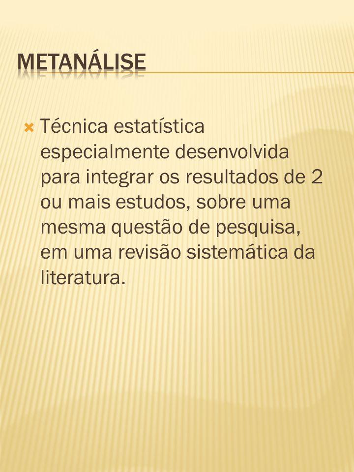  Técnica estatística especialmente desenvolvida para integrar os resultados de 2 ou mais estudos, sobre uma mesma questão de pesquisa, em uma revisão sistemática da literatura.