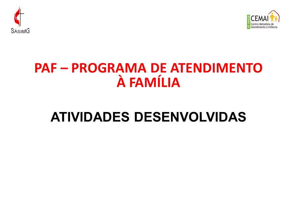 PAF – PROGRAMA DE ATENDIMENTO À FAMÍLIA ATIVIDADES DESENVOLVIDAS