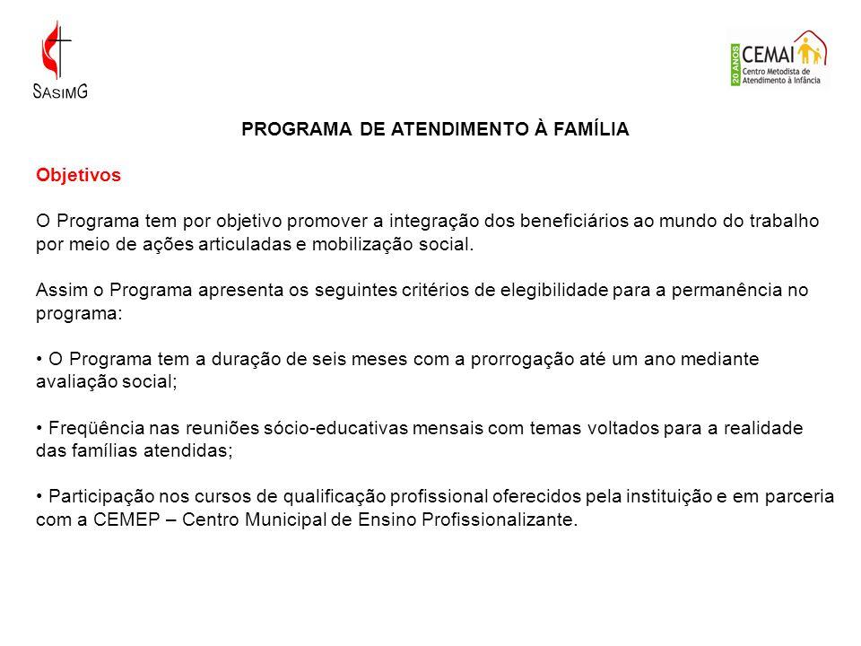 PROGRAMA DE ATENDIMENTO À FAMÍLIA Objetivos O Programa tem por objetivo promover a integração dos beneficiários ao mundo do trabalho por meio de ações