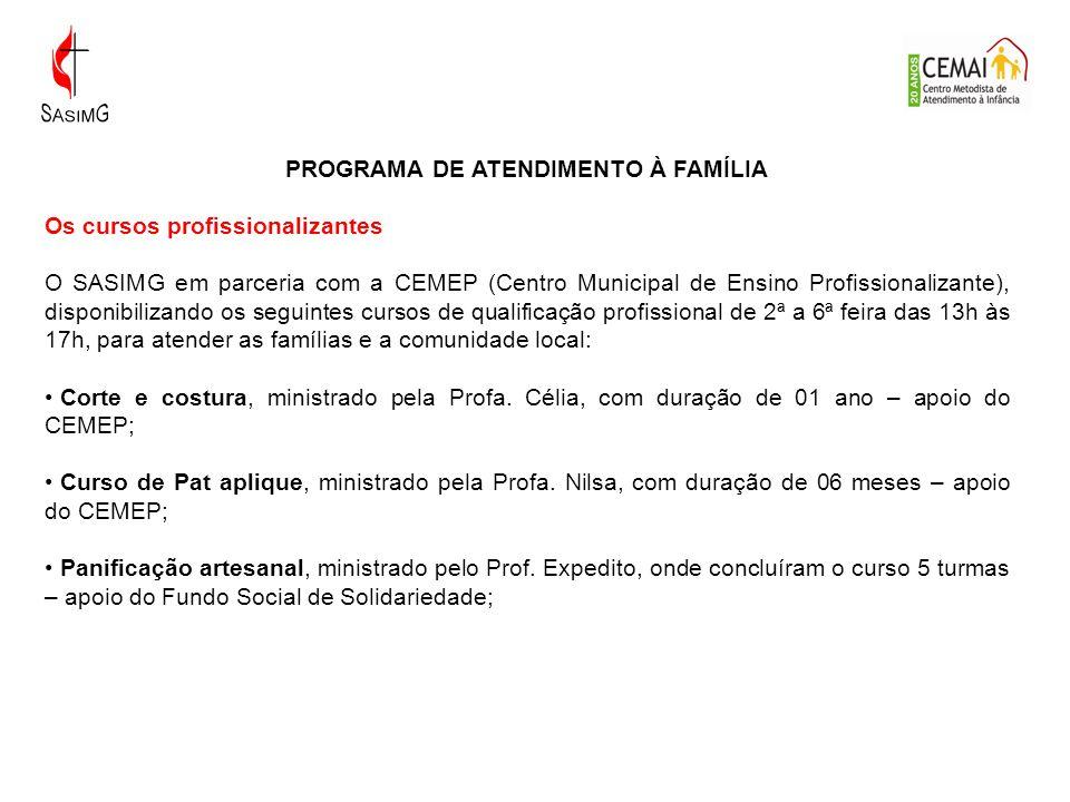 PROGRAMA DE ATENDIMENTO À FAMÍLIA Os cursos profissionalizantes O SASIMG em parceria com a CEMEP (Centro Municipal de Ensino Profissionalizante), disp