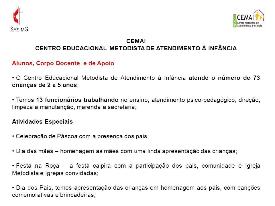 CEMAI CENTRO EDUCACIONAL METODISTA DE ATENDIMENTO À INFÂNCIA Alunos, Corpo Docente e de Apoio O Centro Educacional Metodista de Atendimento à Infância