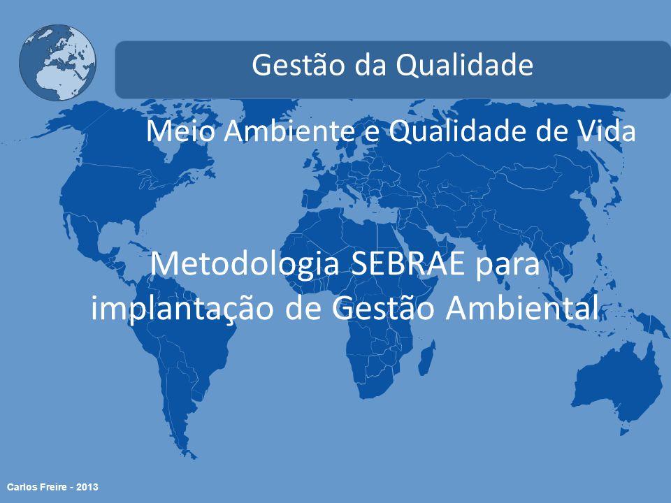 Carlos Freire - 2013 Meio Ambiente e Qualidade de Vida Gestão da Qualidade Metodologia SEBRAE para implantação de Gestão Ambiental