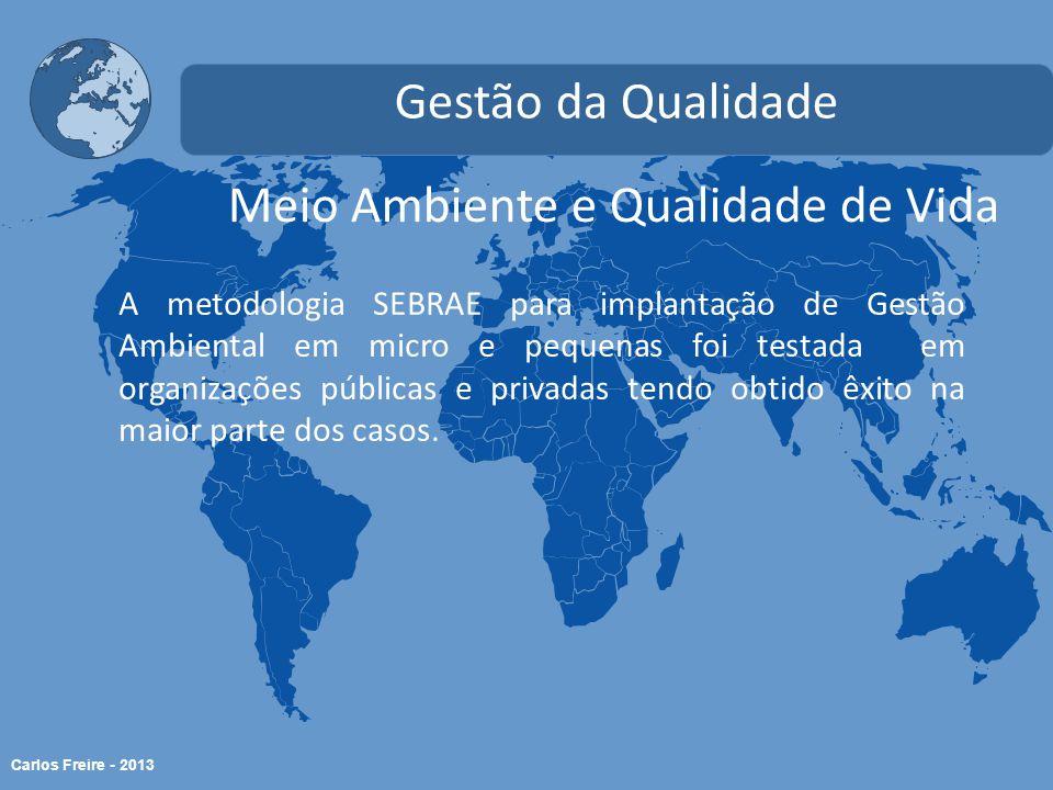 Carlos Freire - 2013 Meio Ambiente e Qualidade de Vida Gestão da Qualidade A metodologia SEBRAE para implantação de Gestão Ambiental em micro e pequenas foi testada em organizações públicas e privadas tendo obtido êxito na maior parte dos casos.