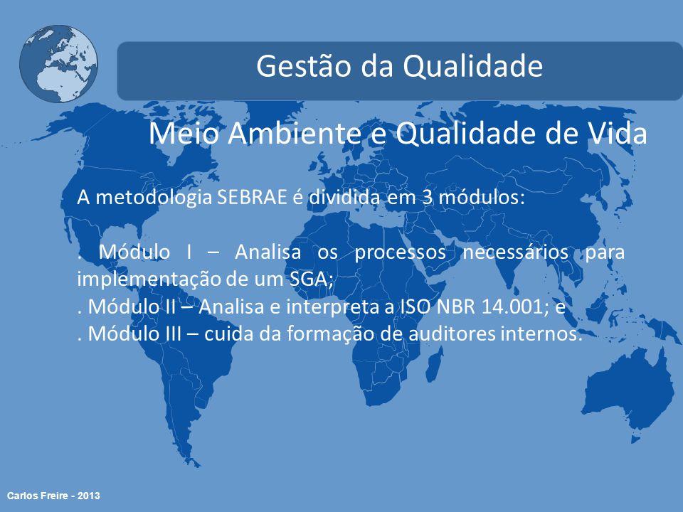 Carlos Freire - 2013 Meio Ambiente e Qualidade de Vida Gestão da Qualidade A metodologia SEBRAE é dividida em 3 módulos:.