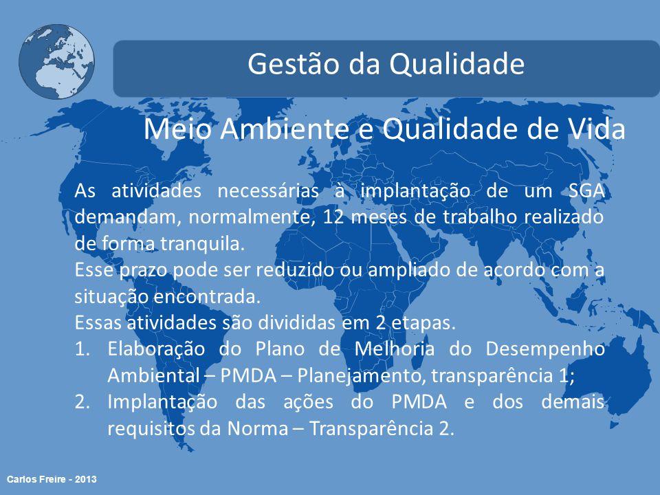 Carlos Freire - 2013 Meio Ambiente e Qualidade de Vida Gestão da Qualidade As atividades necessárias à implantação de um SGA demandam, normalmente, 12 meses de trabalho realizado de forma tranquila.
